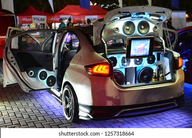 MANILA, PH - DEC. 8: Customized car sound system on December 8, 2018 at Bumper to Bumper car show in Manila, Philippines. Bumper to Bumper is an car show featuring aftermarket cars.