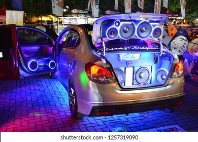 MANILA, PH - DEC. 8: Customized car sounds and light system on December 8, 2018 at Bumper to Bumper car show in Manila, Philippines. Bumper to Bumper is an car show featuring aftermarket cars.