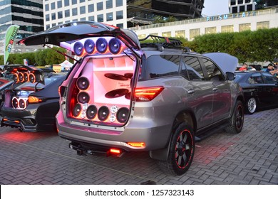 MANILA, PH - DEC. 8: Customized car sounds and lights system on December 8, 2018 at Bumper to Bumper car show in Manila, Philippines. Bumper to Bumper is an car show featuring aftermarket cars.