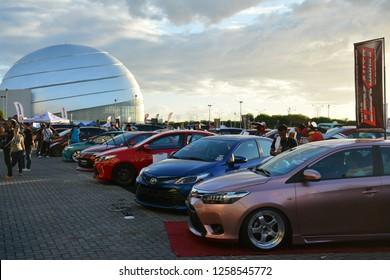 MANILA, PH - DEC. 8: Toyota Vios car display on December 8, 2018 at Bumper to Bumper car show in Manila, Philippines. Bumper to Bumper is an car show featuring aftermarket cars.