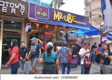 MANILA, PH - FEB. 5: Mister Ube chinese deli restaurant facade on February 5, 2019 in Binondo, Manila, Philippines.