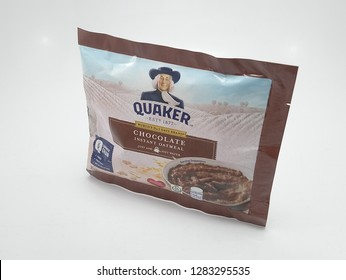 MANILA, PH - JAN. 12: Quaker oats chocolate flavor on January 12, 2019 in Manila, Philippines. Quaker brand is a manufacturer of oat foods in USA.