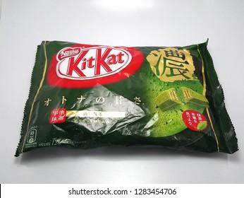 MANILA, PH - JAN. 14: Nestle Kit Kat chocolate matcha green tea flavor on January 14, 2019 in Manila, Philippines. Nestle Kit Kat brand is a manufacturer of chocolate products.