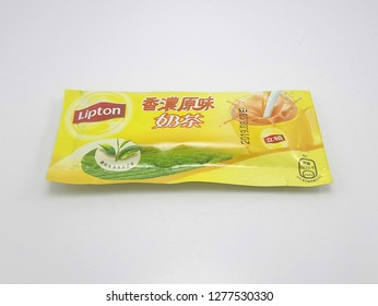 MANILA, PH - JAN. 8: Lipton milk tea powder mix drink on January 8, 2019 in Manila, Philippines. Lipton brand is a manufacturer of tea products.