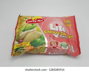 MANILA, PH - JAN. 8: Lucky Me Lite chicken flavor on January 8, 2019 in Manila, Philippines. Lucky Me brand is a manufacturer of noodle food products in Philippines.