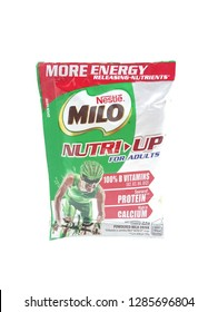 MANILA, PH - JAN. 8: Milo nutri-up drink on January 8, 2019 in Manila, Philippines. Milo brand is a manufacturer of chocolate drink products.