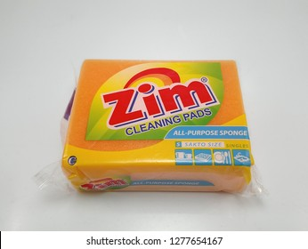 MANILA, PH - JAN. 8: Zim orange cleaning pads on January 8, 2019 in Manila, Philippines. Zim brand is a manufacturer of sponge pad products.