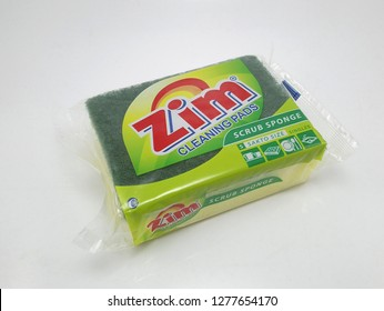 MANILA, PH - JAN. 8: Zim yellow cleaning pads on January 8, 2019 in Manila, Philippines. Zim brand is a manufacturer of sponge pad products.