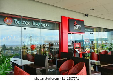 MANILA, PH - JULY 15: Bulgogi Brothers restaurant facade at Sm Mall of Asia on July 15, 2018 in Manila, Philippines. Bulgogi Brothers brand is a Korean restaurant in the Philippines.