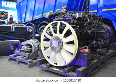 MANILA, PH - JULY 15: Kamaz truck engine on July 15, 2018 at Philippines Bus and Truck Show in Manila, Philippines. Kamaz brand is a manufacturer of truck vehicles in Russia.