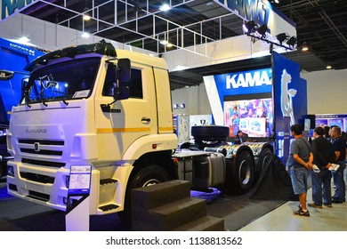 MANILA, PH - JULY 15: Kamaz tractor truck on July 15, 2018 at Philippines Bus and Truck Show in Manila, Philippines. Kamaz brand is a manufacturer of truck vehicles in Russia.