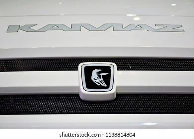 MANILA, PH - JULY 15: Kamaz truck logo emblem on July 15, 2018 at Philippines Bus and Truck Show in Manila, Philippines. Kamaz brand is a manufacturer of truck vehicles in Russia.