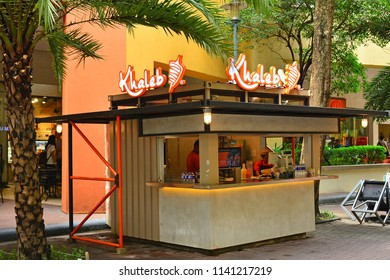 MANILA, PH - JULY 15: Khaleb food stall kiosk at SM Mall of Asia on July 15, 2018 in Manila, Philippines. Shoemart (SM) brand is a super mall chain in the Philippines.