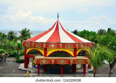 MANILA, PH - JULY 15: Merry go round horse ride at SM by the bay on July 15, 2018 in Manila, Philippines. Shoemart (SM) by the bay is a amusement park in the Philippines.