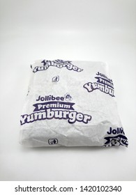 MANILA, PH - JUNE 10: Jollibee Premium Yum burger packaging on June 10, 2019 in Manila, Philippines.