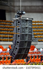 MANILA, PH - JUNE 2: JBL large speakers suspended above the arena on June 2, 2018 in Manila, Philippines. JBL is an American company that manufactures loudspeaker and associated electronics.