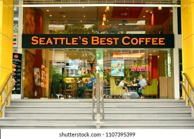 MANILA, PH - JUNE 2: Seattle's Best Coffee facade on June 2, 2018 in Manila, Philippines. Seattle's Best Coffee LLC, an American coffee retailer and wholesaler, based in Seattle, Washington.