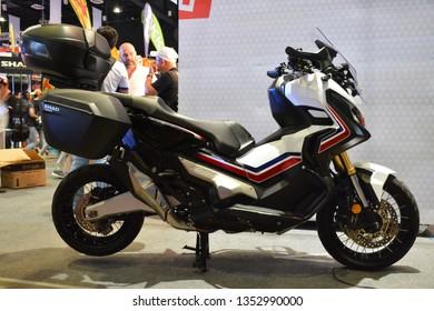 MANILA, PH - MAR. 24: White Honda X ADV motorcycle at Inside Racing Bike Festival & Trade Show 2019 on March 24, 2019 in Manila, Philippines.