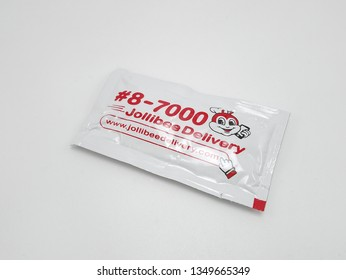 MANILA, PH - MAR. 25: Jollibee catsup sachet on March 25, 2019 in Manila, Philippines.