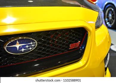 MANILA, PH - MAY 19: Subaru car emblem at Trans Sport Show on May 19, 2018 in Manila, Philippines. Trans Sport Show is the Philippines longest running motoring event.