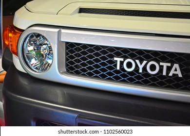 MANILA, PH - MAY 19: Toyota FJ Cruiser sub urban vehicle car emblem at Trans Sport Show on May 19, 2018 in Manila, Philippines. Trans Sport Show is the Philippines longest running motoring event.