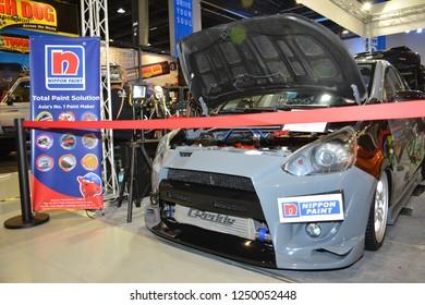 MANILA, PH - NOV. 30: 2012 Mitsubishi Mirage hatchback on November 30, 2018 at Manila Auto Salon in Manila, Philippines. Manila Auto Salon is a aftermarket car show in Philippines.