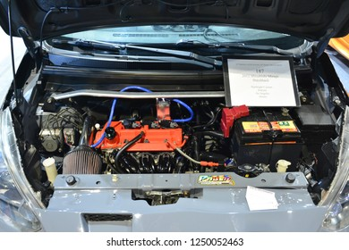 MANILA, PH - NOV. 30: 2012 Mitsubishi Mirage hatchback car engine on November 30, 2018 at Manila Auto Salon in Manila, Philippines. Manila Auto Salon is a aftermarket car show in Philippines.