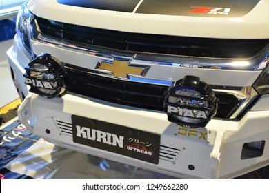 MANILA, PH - NOV. 30: Chevrolet Trailblazer sub urban vehicle front grill on November 30, 2018 at Manila Auto Salon in Manila, Philippines. Manila Auto Salon is a aftermarket car show in Philippines.