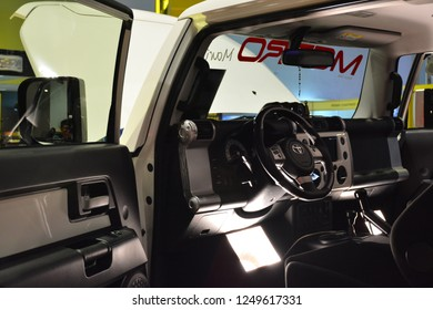 MANILA, PH - NOV. 30: Toyota FJ Cruiser interior on November 30, 2018 at Manila Auto Salon in Manila, Philippines. Manila Auto Salon is a aftermarket car show in Philippines.