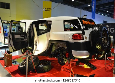 MANILA, PH - NOV. 30: Toyota FJ Cruiser on November 30, 2018 at Manila Auto Salon in Manila, Philippines. Manila Auto Salon is a aftermarket car show in Philippines.