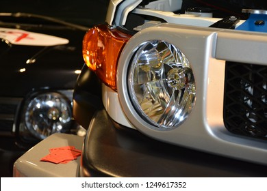MANILA, PH - NOV. 30: Toyota FJ Cruiser head light on November 30, 2018 at Manila Auto Salon in Manila, Philippines. Manila Auto Salon is a aftermarket car show in Philippines.
