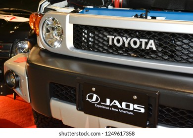 MANILA, PH - NOV. 30: Toyota FJ Cruiser front grill on November 30, 2018 at Manila Auto Salon in Manila, Philippines. Manila Auto Salon is a aftermarket car show in Philippines.