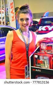 MANILA, PH - NOV. 30: Unidentified female model at Manila Auto Salon on November 30, 2017 in Manila, Philippines. Manila Auto Salon is a annual gathering exhibit for automotive aftermarket industry.