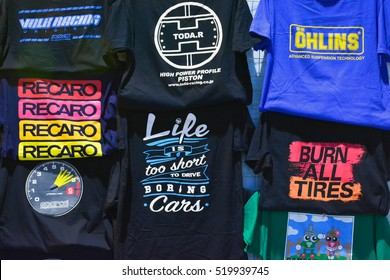 MANILA, PH - NOV. 6: Assorted automotive T-shirts at Manila Auto Salon on November 6, 2016 in Manila, Philippines. Manila Auto Salon is a annual gathering exhibit for automotive aftermarket industry.