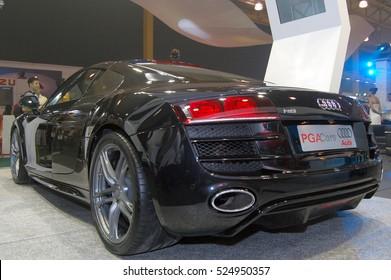 MANILA, PH - NOV. 6: Black Audi R8 at Manila Auto Salon on November 6, 2016 in Manila, Philippines.
