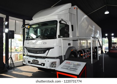 MANILA, PH - OCT. 27: Fuso motors FJ truck at Philippine International Motor Show on October 27, 2018 in Manila, Philippines. Philippine International Motor Show is a showcase of latest cars.