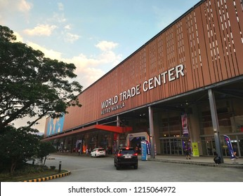 MANILA, PH - OCT. 27: World Trade Center Metro Manila facade on October 27, 2018 in Manila, Philippines. World Trade Center is a events and exhibition venue in Philippines.