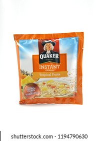 MANILA, PH - OCT. 4: Quaker tropical fruits flavor instant oat meal on October 4, 2018 in Manila, Philippines. Quaker brand is a producer of oat meal products in USA.