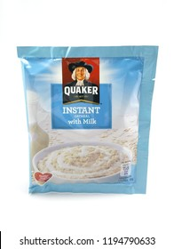 MANILA, PH - OCT. 4: Quaker instant oat meal with milk on October 4, 2018 in Manila, Philippines. Quaker brand is a producer of oat meal products in USA.