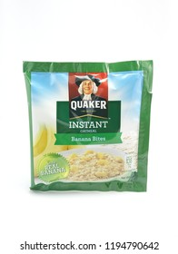 MANILA, PH - OCT. 4: Quaker banana bites flavor instant oat meal on October 4, 2018 in Manila, Philippines. Quaker brand is a producer of oat meal products in USA.