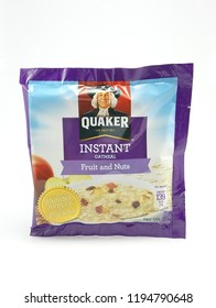 MANILA, PH - OCT. 4: Quaker fruit and nuts flavor oat meal on October 4, 2018 in Manila, Philippines. Quaker brand is a producer of oat meal products in USA.