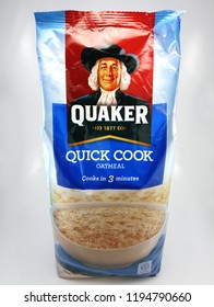 MANILA, PH - OCT. 4: Quaker quick cook oat meal on October 4, 2018 in Manila, Philippines. Quaker brand is a producer of oat meal products in USA.