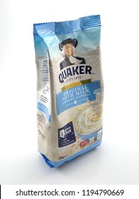 MANILA, PH - OCT. 4: Quaker oats original with milk on October 4, 2018 in Manila, Philippines. Quaker brand is a producer of oat meal products in USA.