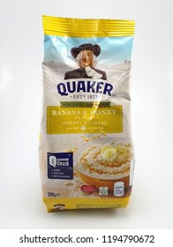 MANILA, PH - OCT. 4: Quaker banana and honey flavor oat meal on October 4, 2018 in Manila, Philippines. Quaker brand is a producer of oat meal products in USA.