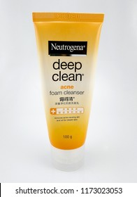 MANILA, PH - SEPT. 6: Neutrogena deep clean acne foam cleanser on September 6, 2018 in Manila, Philippines. Neutrogena brand is a manufacturer of formulated skin care products.