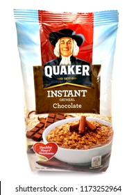 MANILA, PH - SEPT. 6: Quaker instant oatmeal chocolate flavor on September 6, 2018 in Manila, Philippines. Quaker brand is a manufacturer of oat meal products in USA.