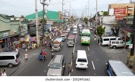 Manila, Philippines - 22 September 2016 : Busy street with traffic in Manila, Philippines