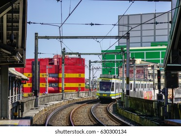 Manila, Philippines - Apr 12, 2017. Rail tracks at EDSA Station in Manila, Philippines. Manila is the center of culture, economy, education and government of the Philippines.