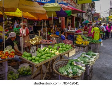 Manila, Philippines - Apr 12, 2017. Vegetable market in Manila, Philippines. Manila is the capital of the Philippines and the center of governance, education and finance.