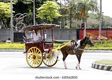 MANILA, PHILIPPINES APR 22: A horse drawn carriage  in Aliwan Fest on April 22, 2017  in Manla, Philippines. Celebrating with street dance competition from all parts of the country.